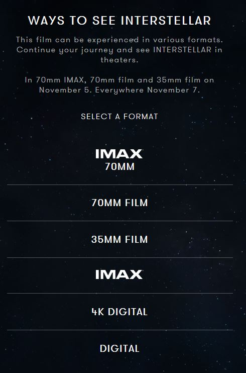 Quot Interstellar Quot Goes Imax 70mm And 5 70 Mm